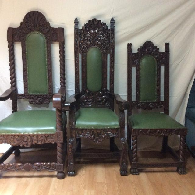 Antique Carved Wood Spanish Throne Chairs - Best Antique Carved Wood Spanish Throne Chairs For Sale In New