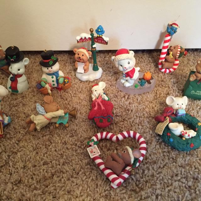 11 Christmas Ornaments Mice Snowmen Vintage From The Early 1990s Excellent Condition Reduced