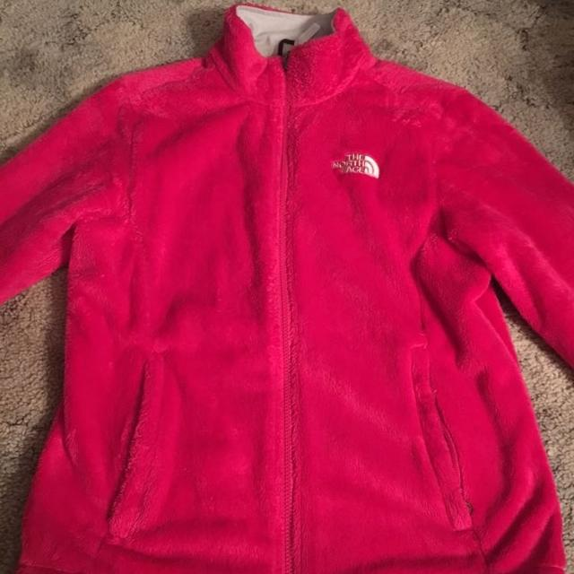 34a17482b Hot pink fuzzy north face jacket