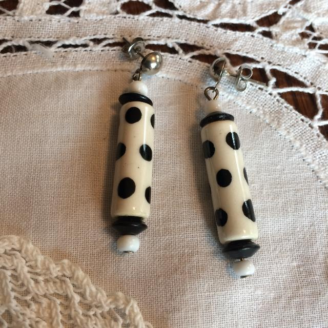 Black White Polka Dot Earrings