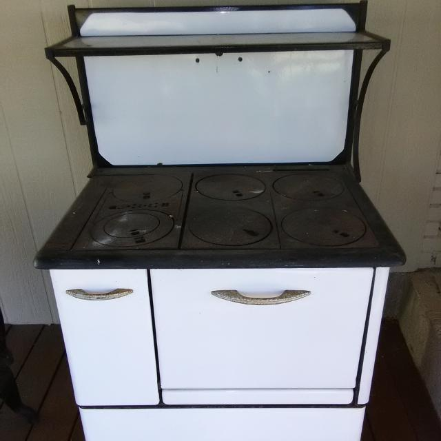 Antique Wood Burning Kitchen Range With 6 Burners And An Oven