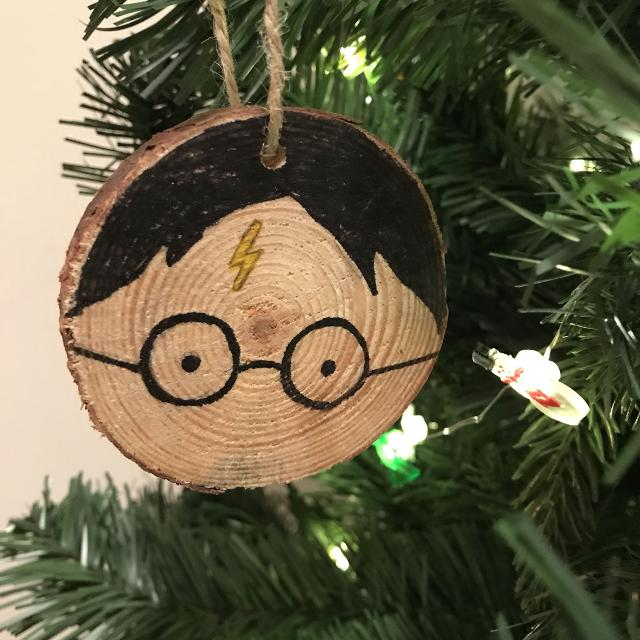 Best Hand Drawn Wood Slice Ornament Harry Potter For Sale In Port