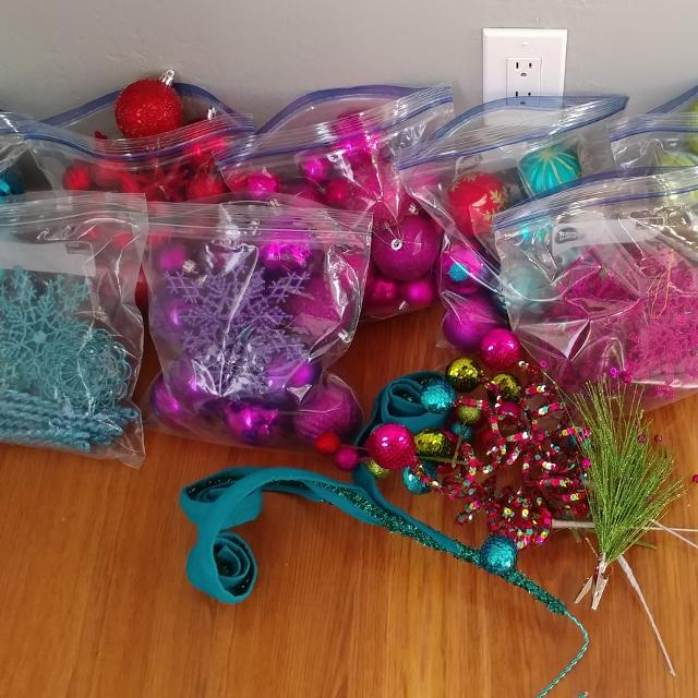 christmas ornaments picks red hot pinkteal purple and lime green - Purple And Lime Green Christmas Decorations