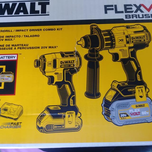 Brand New DEWALT FLEXVOLT 60-Volt and 20-Volt MAX Lithium-Ion Cordless  Brushless Combo Kit (2-Tool) w/ 2Ah and 6Ah Batteries and Charger