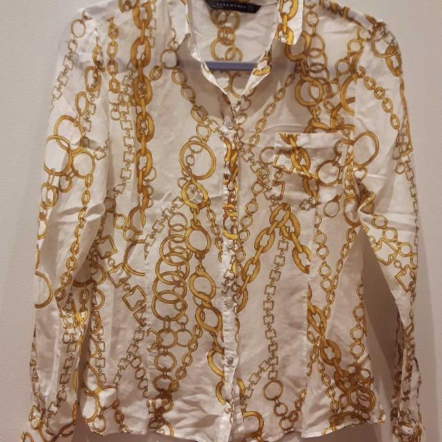 b3426ecb7cafb9 Best Zara Blouse With Gold Chain Print Size M for sale in Montréal, Quebec  for 2019