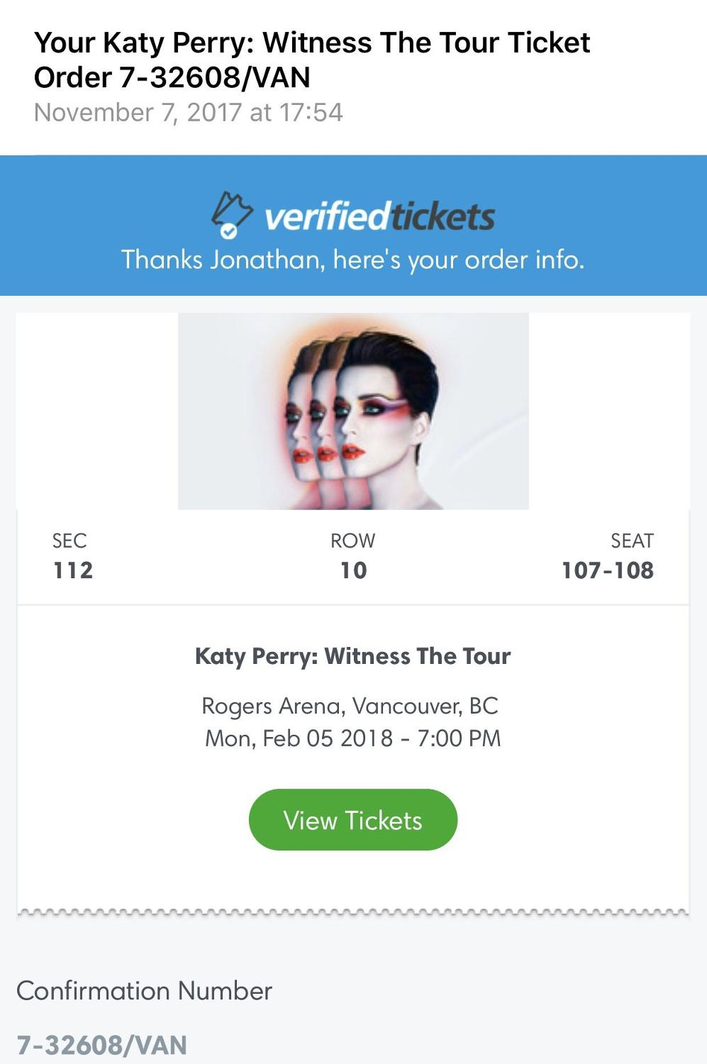 Find More Katy Perry Witness The Tour For Sale At Up To 90 Off Tiket 2018