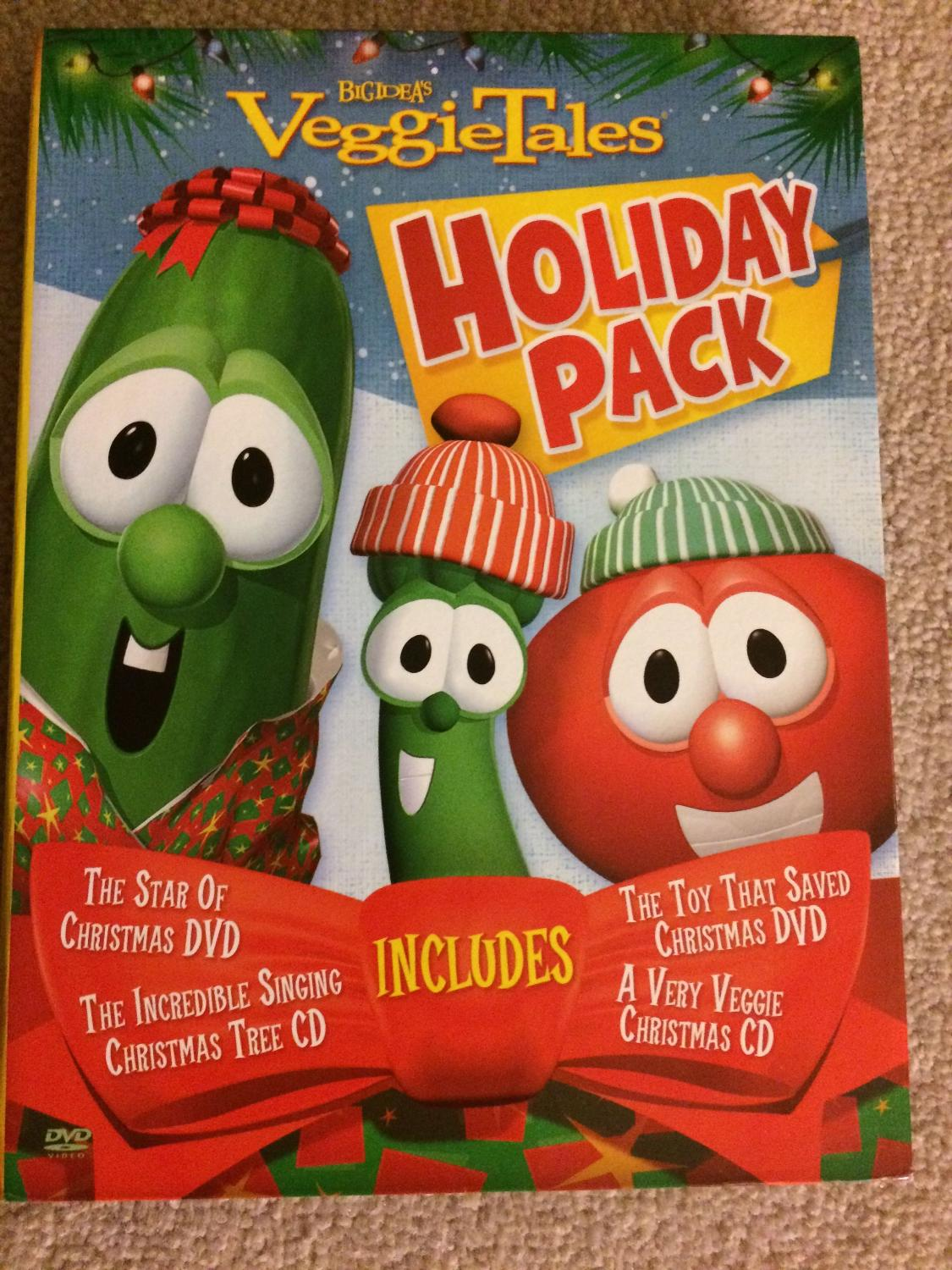A Very Veggie Christmas.Veggie Tales Holiday 4 Pack Christmas Dvd S And Cd S