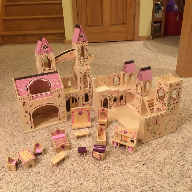 Melissa And Doug Wooden Folding Princess Castle With Additional Furniture Set