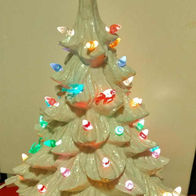 90s Christmas Lights.Vintage 90s White Christmas Tree Glittery Ceramic Lighted Tree 18 Inches To Top Of Star