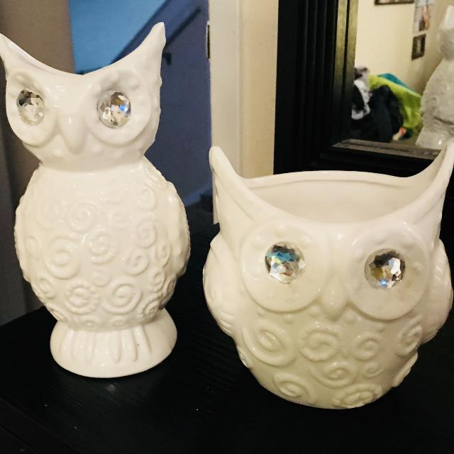 Two White Owl Vases Decor