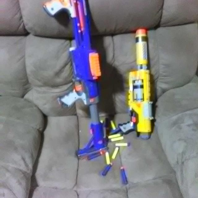 Nerf guns!!! The big blue one is $20 and the yellow ones $10 + extra free  bullets