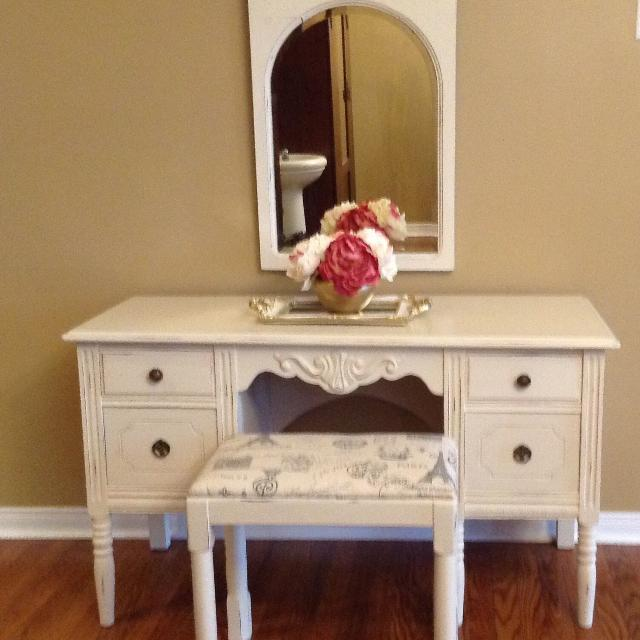 Find More Small Vintage Vanity Dresser Mirror And Bench For Sale At