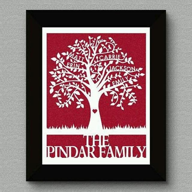 best made to order 2 6 names family tree papercut personalized