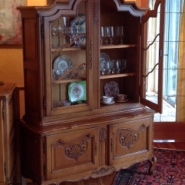 oak china cabinet hutch vintage house lighted glass shelves antique with  doors curved . - Oak Curved Glass China Cabinet Antique Value Of Cabinets For Sale