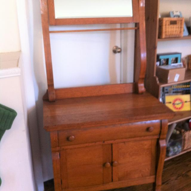 Find More Antique Wooden Wash Stand Cupboard With Mirror For Sale At