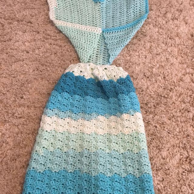 Best Handmade Newborn Crochet Mermaid Tail Blanket For Sale In