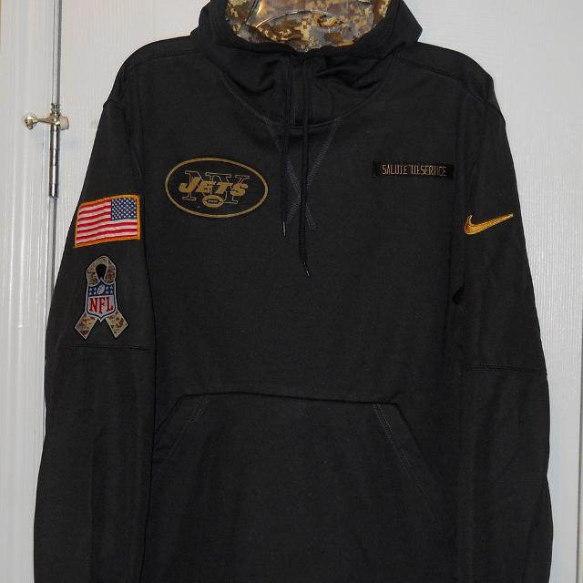 best sneakers 7aa3b ece15 NIKE NEW YORK JETS SALUTE TO SERVICE CAMO SIDELINE HOODIE SIZE M