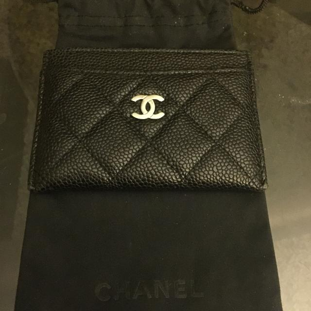 7e77a7171654 Find more Authentic Chanel Classic Quilted Black Caviar Leather Card ...
