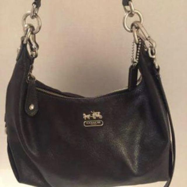 Coach Madison Hailey Bag Gently Used Purple Interior Pebbled Leather Silver
