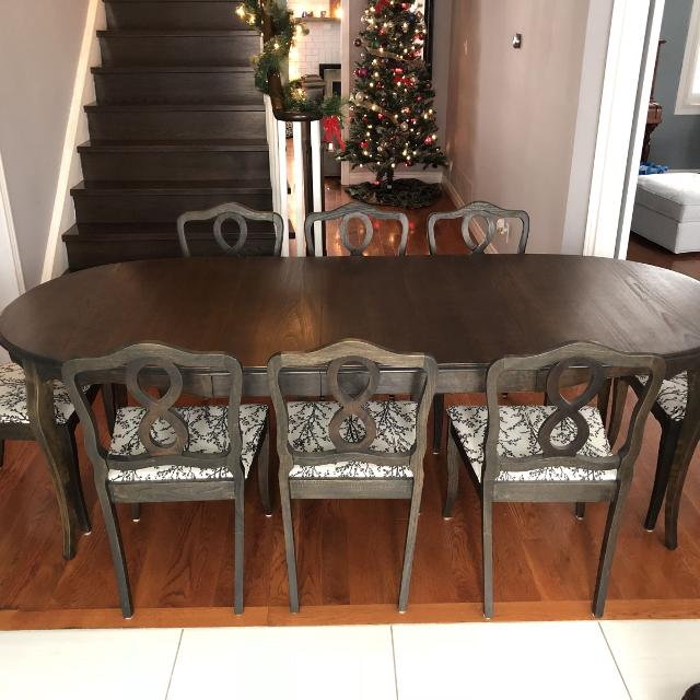 REDUCED PRICE Solid Wood Dining Table And 8 Chairs Recently Refinished