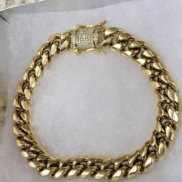 14kt Gold 10mm Miami Cuban Link Bracelet Vvs Diamond Clasp