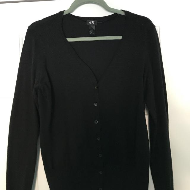 Best H&m Basic Black Cardigan With Ribbed Bottom for sale in ...