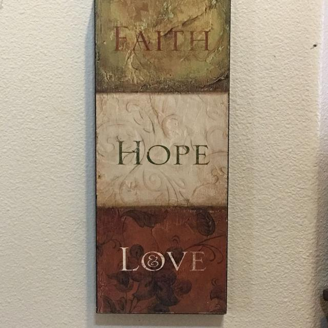 Faith Hope Love Wood Wall Decor Good Condition Back Sides Have Minor Wear But The Front Is Great Slide For Pic 20 X 8