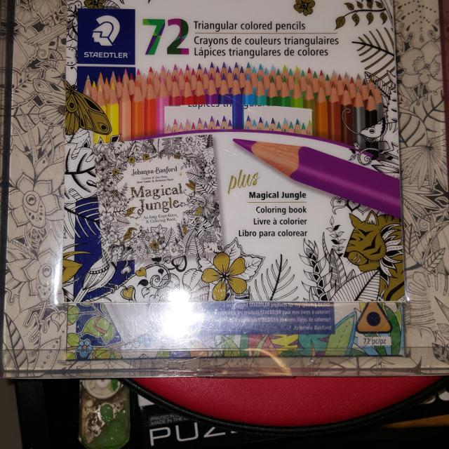 Brand New Staedtler 72 Coloured Pencils And Johanna Basford S Magical Jungle Colouring Book Set