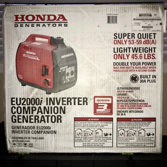 Honda EU2000IT1A3 Companion 2000 watt 30a inverter generator with eco  throttle brand new unopened box