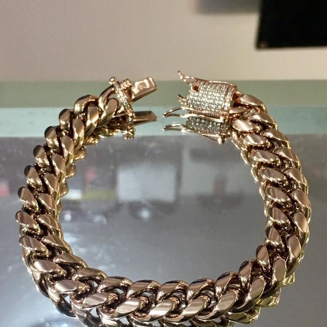 14kt Rose Gold Miami Cuban Link Bracelet Vvs Diamond Zirconia