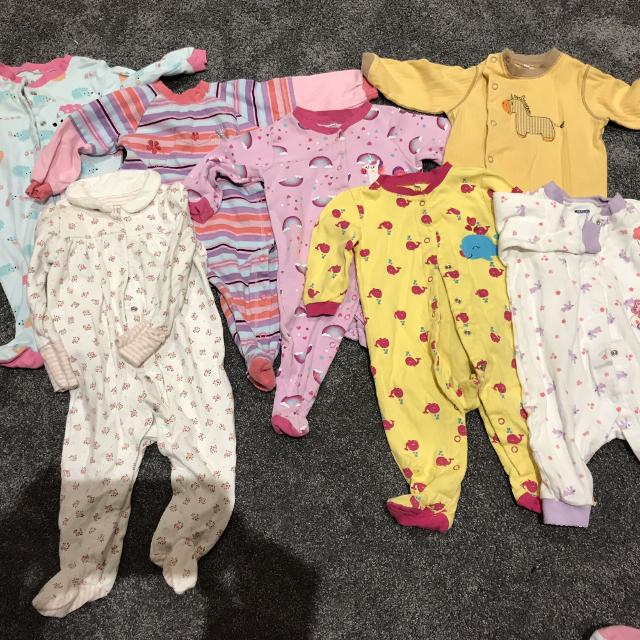 a4a359227f2a Find more Lot Of Seven Baby Girl Sleepers Size 6 Month for sale at ...