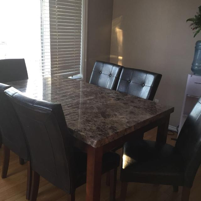 Montibello Turkish Marble Brown Dining Table Chairs
