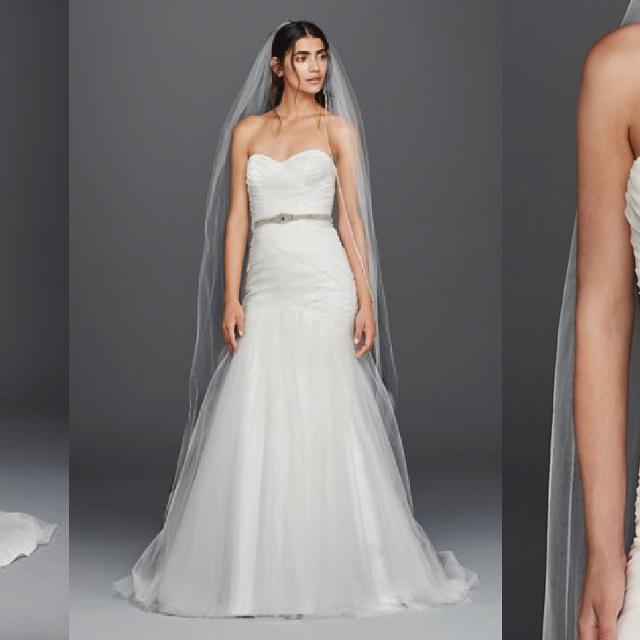 Best Strapless Ruched Mermaid Tulle Wedding Dress (brand