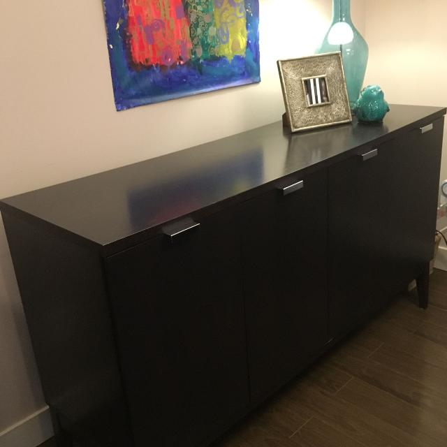 "the latest b90f0 ba93a Espresso sideboard buffet. 2 small cabinets and 1 large. D18""xW60""xH34"".  bought for over $500."