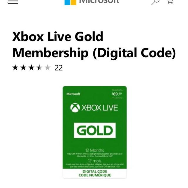 12 month Xbox live gold membership (digital code)