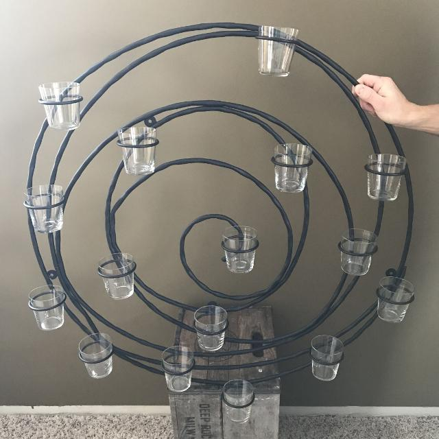 Beautiful Pottery Barn Wrought Iron Spiral Votive Candle Holder Wall Decor