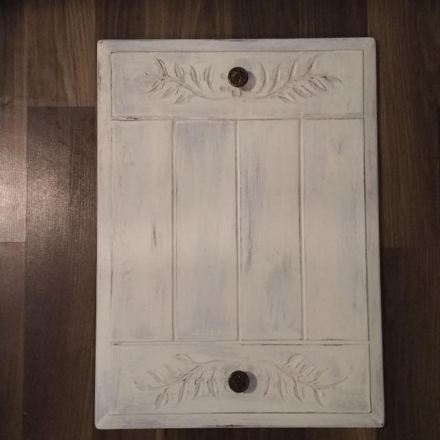 Distressed White Wooden Coat Rack Jewelry Hanger Or Coffee Table Tray