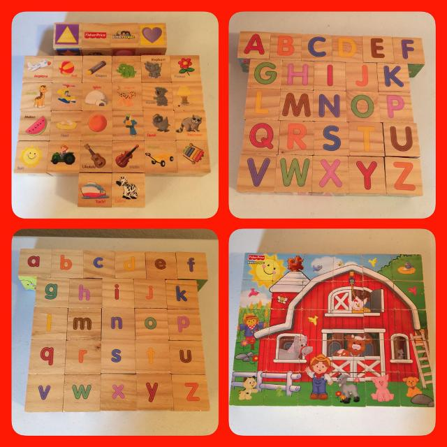 Find more Fisher Price Little People Wooden Block Set W/ Alphabet ...