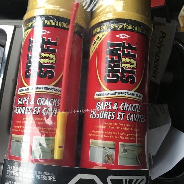Spray foam great stuff only $4 a can