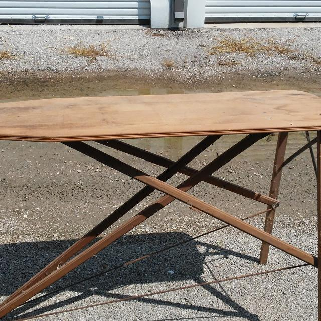 Vintage Wooden Ironing Board With Wood Folding Legs