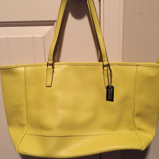 Bright Yellow Leather Coach Purse