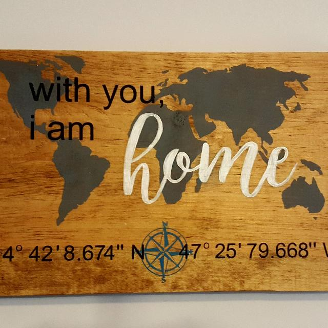 Latitude And Longitude Custom Painted Wooden Sign