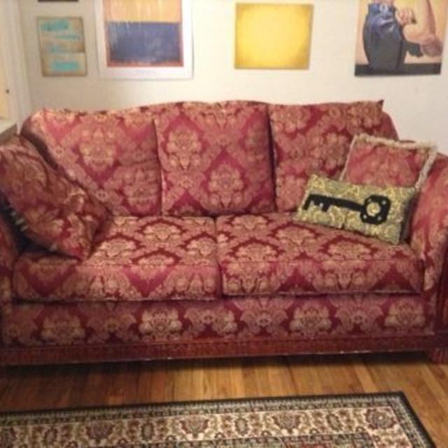 Best Red/gold Victorian Print Couch For Sale In Fairview