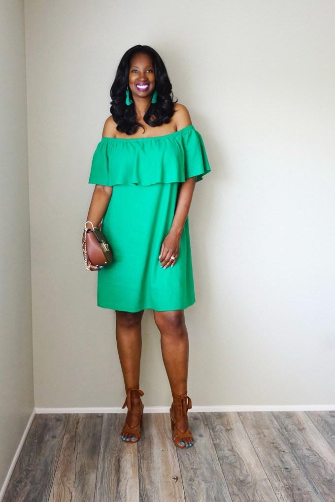 0f2e94551ed6 Best Old Navy Women s Green Off The Shoulder Dress Size Small Nwt for sale  in Aylmer