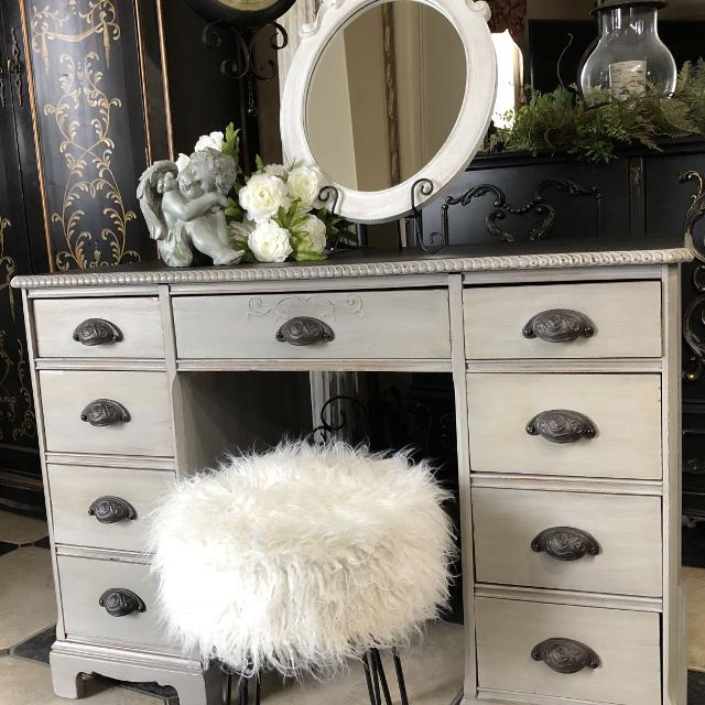 Find More Stunning Vintage Farmhouse Vanity Dressing Table With Lot S Of Storage And Mirror For Sale At Up To 90 Off