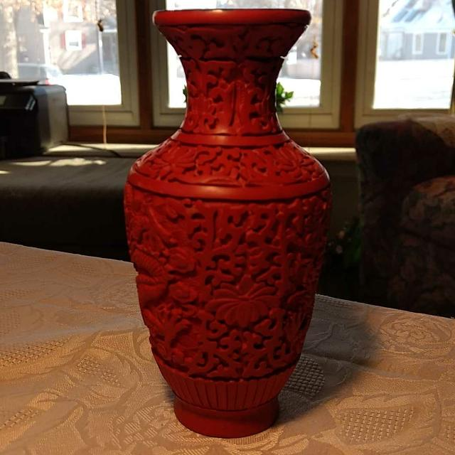 Find More Vintage Chinese Cinnabar Black Lacquer Carved Vase For