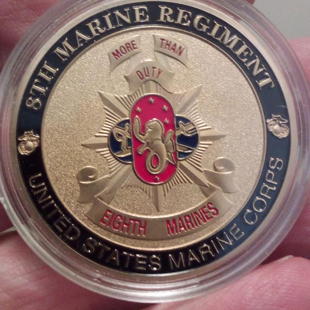 Large 40mm M-Coin United States Marine Corps 8th Marine Regiment Colored  and Frosted Coin
