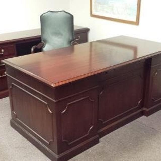 Best Refinished Wood Desk Credenza Set By Kimball Office Furniture