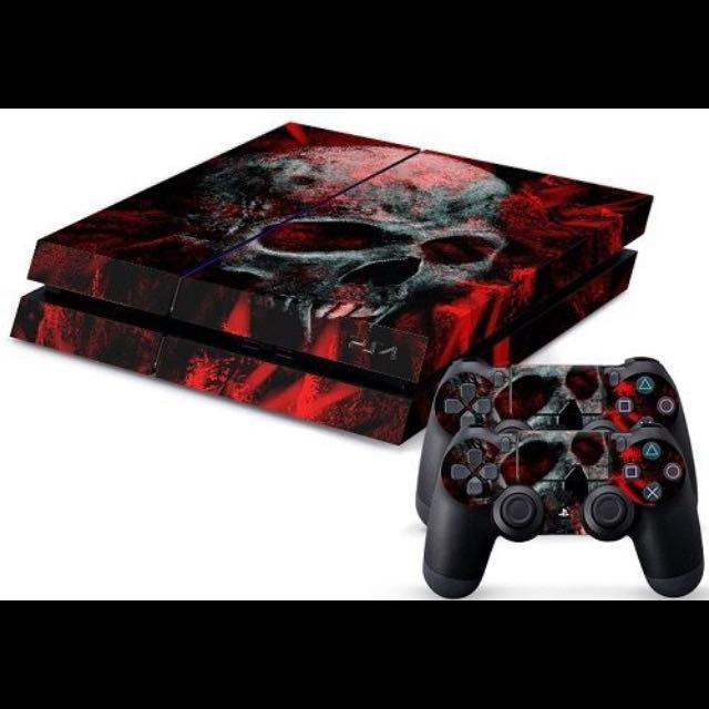 Ps4 with red skull skin