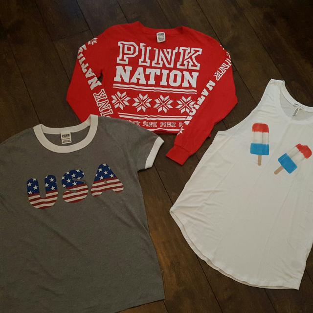 0199770f928 Find more Victoria Secret Pink Lot Of Red/white/blues!!....soft Tank ...